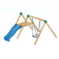 Lauko vaikų žaidimų kompleksas su supamu krepšiu